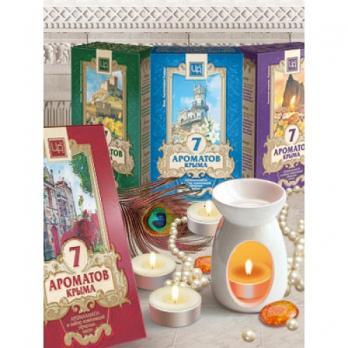 Сувенирный набор 7 АРОМАТОВ КРЫМА аромалампа, свеча, комплект композиций эфирных масел 7шт по 0,5 мл Царство ароматов
